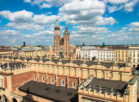 marys: St. Marys Church at Main Square Krakow, Poland, summer Stock Photo
