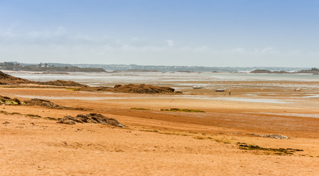 ploumanach: Panorama of Brittany Bretagne coastline at low tide, France