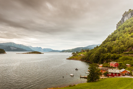 hardangerfjord: Beautiful Nature Hardangerfjord landscape summer rain Norway