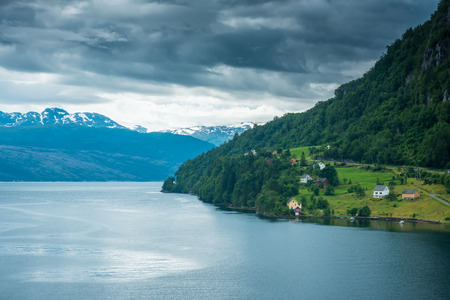 Beautiful Nature Hardangerfjord landscape summer rain Norway