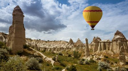 Air balloon over Love valley, Cappadocia Turkey Stock Photo
