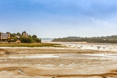 bretagne: Panorama of Brittany Bretagne coastline at low tide, France