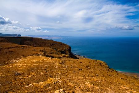 manrique: volcanic lava view and ocean near Mirador del Rio. Lanzarote, Canary Islands Stock Photo