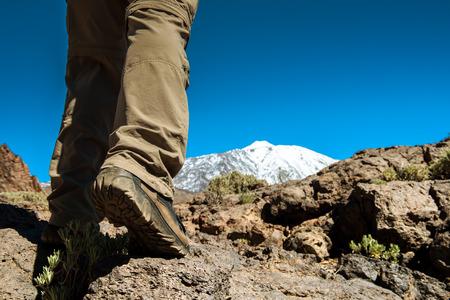 sport man on top of mountain, achievement success healthy lifestyle, Teide Tenerife