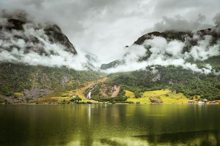 summer Hardangerfjord fjord landscape of south norway