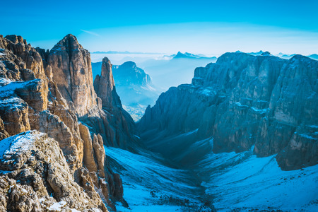 View to Mountains Sella Ronda Dolomites Italy