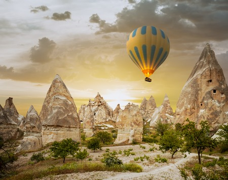 Hot air balloons flying over a field of poppies and rock landscape at Cappadocia, Turkey Stock Photo