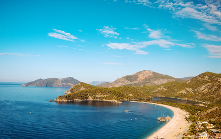 Summer view to Oludeniz lagoon beach landscape Fethiye Turkey Stock Photo
