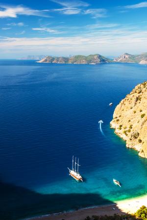 oludeniz: Summer butterfly valley sea beach view and cruise boat Oludeniz,Turkey