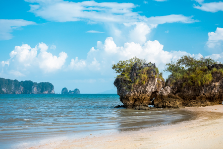 aonang: Paradise Ao Nang beach. Sea and rock, Krabi Thailand Stock Photo