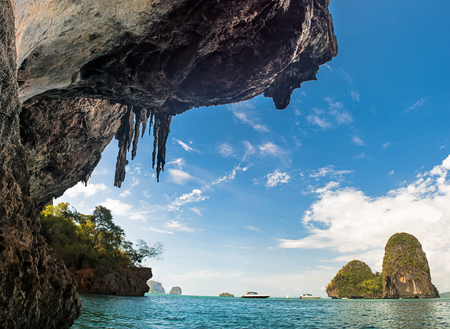 aonang: Phra Nang Beach at Railay near Ao Nang Krabi on Andaman Sea Thailand