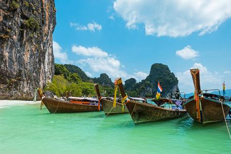 Koh Hong island bay and longtail boat, Andaman Sea - Thailand