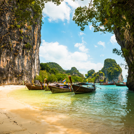 Koh Hong island bay and longtail boat, Andaman Sea - Thailand