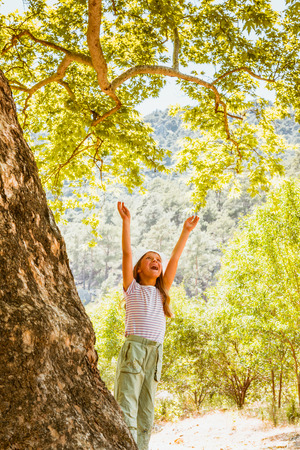 Little girl and big tree. Green life, ecology background Stock Photo