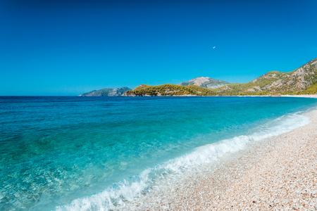Summer view to Oludeniz lagoon beach landscape Fethiye Turkey Stock Photo