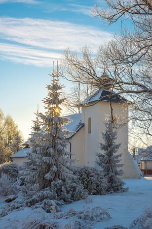 beautiful winter landscape in european village. Happy New Year, Marry Christmas