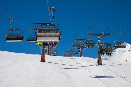 Slope on the skiing resort, European Alps Stock Photo