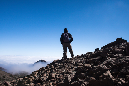 sport man on top of mountain achievement success healthy lifestyle, Tenerife Canary