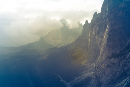 View from Mountains Sella Ronda Dolomites Italy Stock Photo