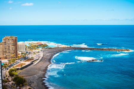 Aerial view to hotel zone and sea Puerto de la Cruz, Tenerife 스톡 콘텐츠