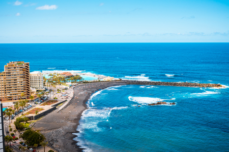 Aerial view to hotel zone and sea Puerto de la Cruz, Tenerife Stock Photo