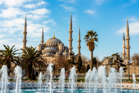 Blue Mosque and fountain landmarks of Istanbul Stock Photo