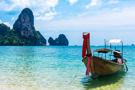 Long tail boat on tropical Railay beach, Aonang, Krabi, Thailand