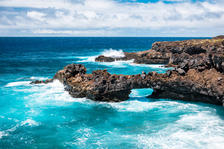 Wonderful natural ocean pool at the Tenerife island Stock Photo