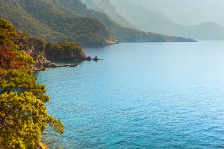 Coastline at Mediterranean sea near Fethiye Kabak Turkey.