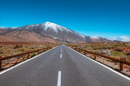 Road in volcanic desert Teide Tenerife, Canary.