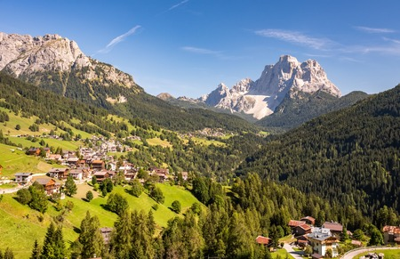 Typical summer village landscape in Dolomites, Italy