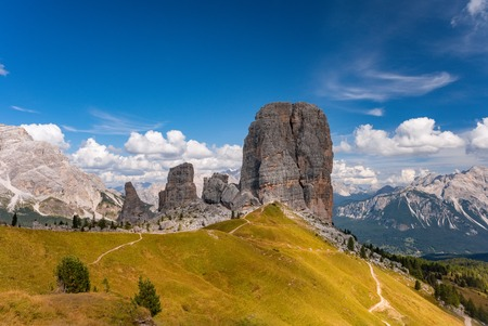 Cinque Torri or Five Pillars in Dolomites mountains South Tyrol Italy 免版税图像