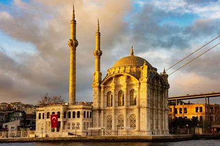Istanbul beautiful night Ortakoy Mosque and Bosphorus Bridge, Istanbul Turkey. Best touristic destination of Istanbul.