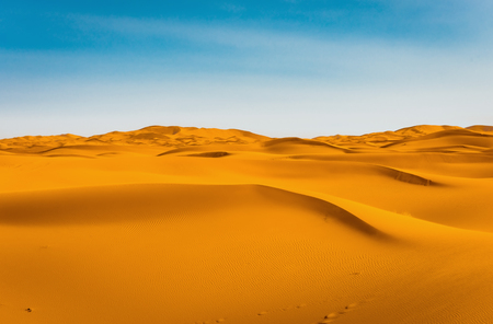 Majestic beautiful scene of Merzouga dunes of Sahara desert Morocco.
