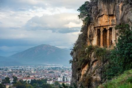 Ancient Lycian Rock Tombs in Fethiye, Turkey