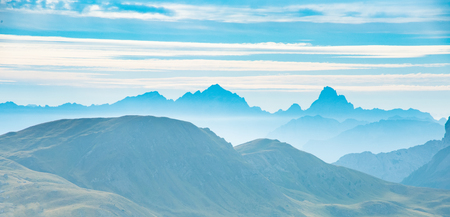 layered mountains landscape background of Dolomites, Italy