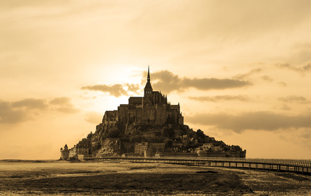 Mont Saint Michel tidal island in summer, Normandy, northern France