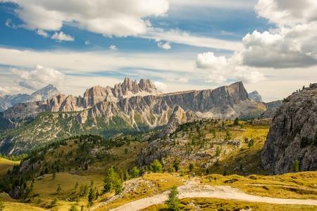 Summer mountain landscape, Cinque Torri, Dolomite Alps Italy