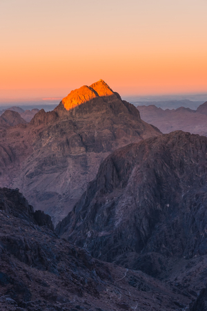 Sunset over sacred Mount Moses Sinai desert, Egypt