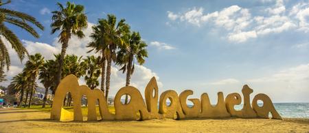 Malagueta writing at Malaga beach Costa del Sol resort Spain