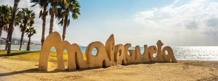 Malagueta word at Malaga beach Costa del Sol tourist resort Spain 免版税图像