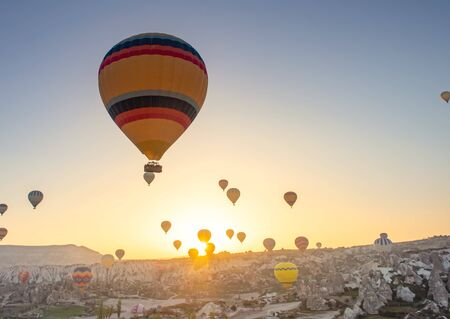 great tourist attraction of Cappadocia - balloon flight. Goreme, Cappadocia, Turkey