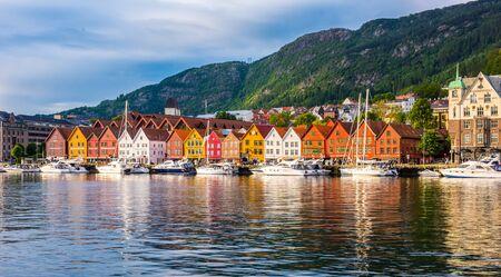 Bergen, Norway - July 05 2018: View of historical buildings in Bryggen- Hanseatic wharf UNESCO World Heritage Site