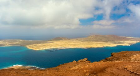 beautiful volcanic island Lanzarote - panoramic view from Mirador del rio. Canary islands
