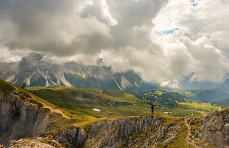 Amazing view Dolomites mountains from Seceda over Odle Puez Italy