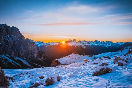 Mountain landscape after first snow in Dolomites mountains, Italy