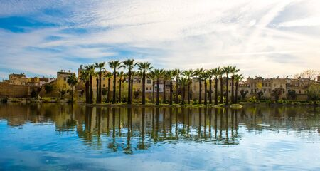 Jnan Sbil or Bou Jeloud garden, Royal Park in Fez with lake and palms, Fez Morocco
