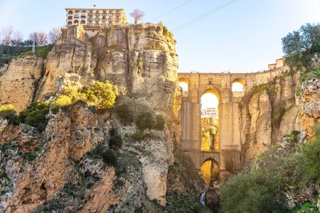 Puente Nuevo Bridge and town Ronda, Andalusia, Spain 스톡 콘텐츠 - 130220767