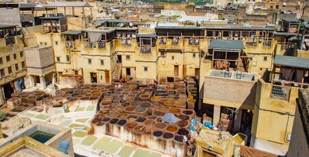 Fes, Morocco. Old town panorama,tanneries and tanks with color paint for leather. Morocco Africa 写真素材