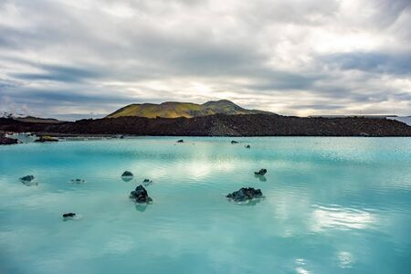 Blue Lagoon natural resort thermal pool near Reykjavik, Iceland. Famous tourist attraction.